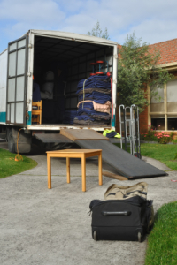 Relocation truck loaded